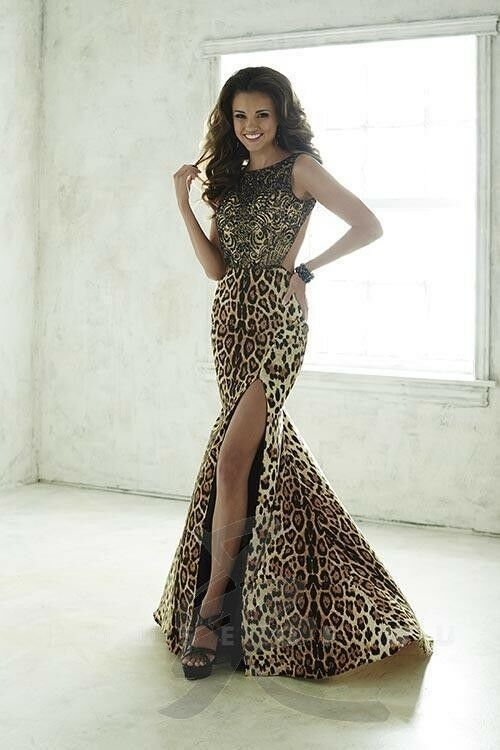 Tiffany Designs Jersey Mermaid Prom Dress 46071 Leopard/Nude