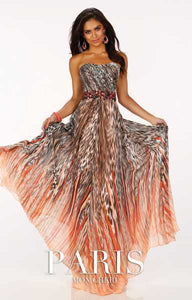 Paris Leopard Print Prom Grad Dress Orange/Multi