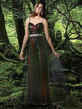 Load image into Gallery viewer, Xcite Disney Leopard Sequin Grad Prom Dress 35593 Peacock/Multi