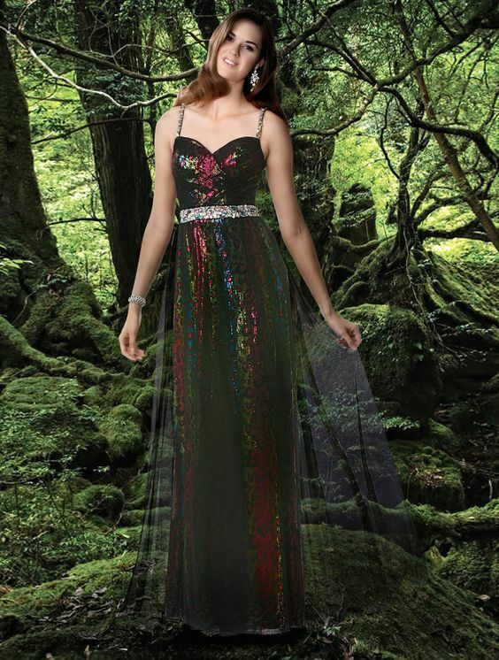 Xcite Disney Leopard Sequin Grad Prom Dress 35593 Peacock/Multi
