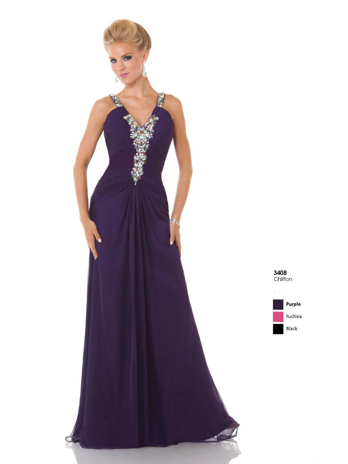 Mystique Chiffon Prom Dress 3408 Purple