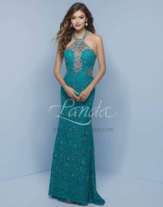 Splash Lace Halter Prom Dress J717 Teal