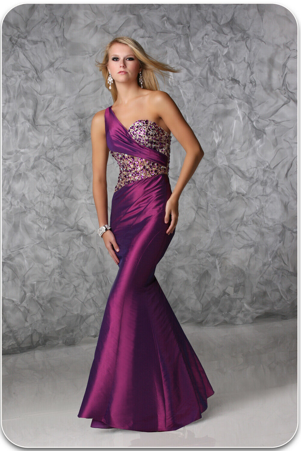 Xcite Taffeta One Shoulder Prom Dress 32367 Purple/Nude