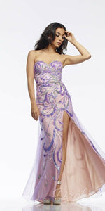 Riva Designs Strapless Sequin Prom Dress R9710 Lilac