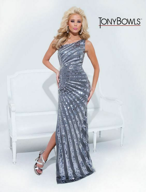 Tony Bowls Paris One Shoulder Prom Dress 114706 Pewter