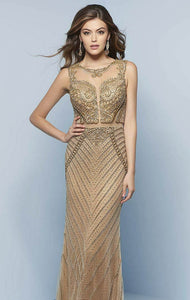 Splash Beaded Prom Dress J839 Gold