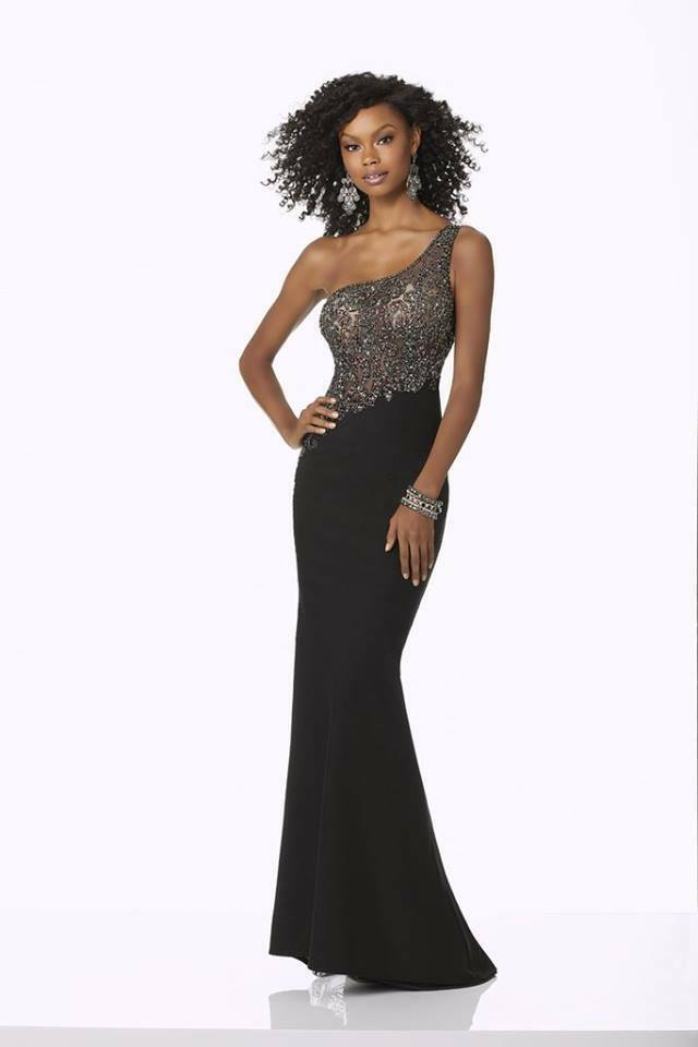 Morilee One Shoulder Grad Prom Dress 42120 Black/Gunmetal