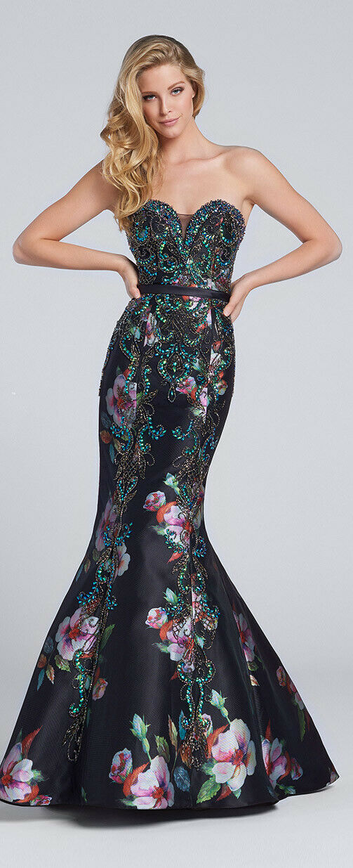 Ellie Wilde Grad Prom Dress EW117149 Black/Multi