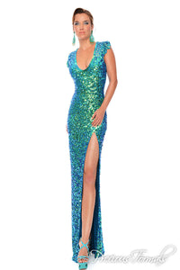 Precious Formals Color Changing Sequin Prom Dress P9057 Crystal Blue Green