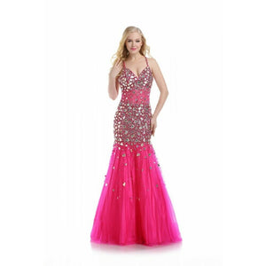 Romance Couture Sheer Rhinestone Grad Prom Dress RM5012