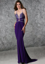 Load image into Gallery viewer, Xcite Beaded Stretch Grad Prom Dress 32325 Purple