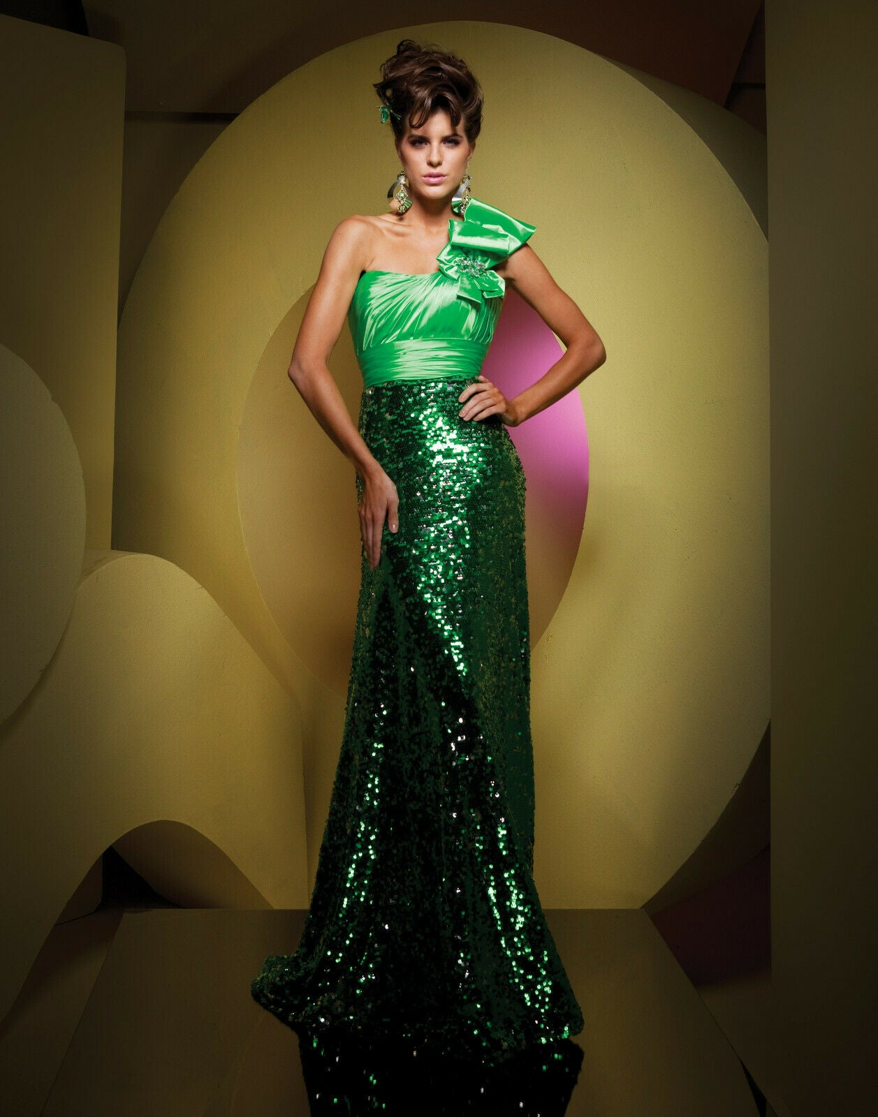 Tony Bowls One Shoulder Sequin Prom Dress Jade 111539