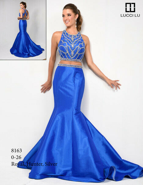 Lucci Lu Two Piece Grad Prom Dress 8163 Royal Blue