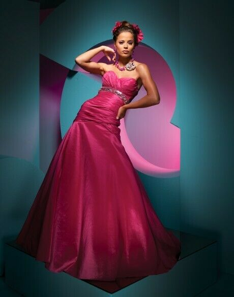 Tony Bowls Paris Taffeta Prom Dress 111707 Fuchsia