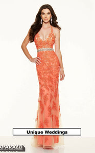 Morilee Lace Low Back Prom Dress 98005 Coral