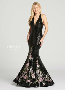 Ellie Wilde Grad Prom Dress EW118133 Black/Multi