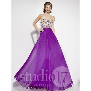 Studio 17 Chiffon Strapless Prom Dress 12562 Purple
