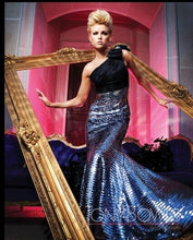 Load image into Gallery viewer, Tony Bowls Evenings One Shoulder Sequin Prom Dress TBE11130 Black/Gunmetal