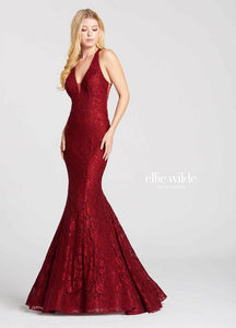Ellie Wilde Grad Prom Dress EW118007 Wine