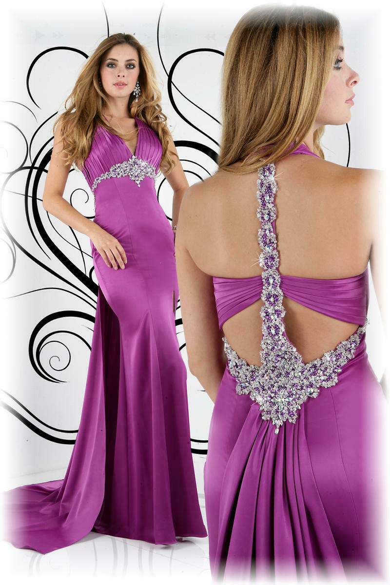 Xcite Satin Fancy Back Prom Dress 30189 Raspberry