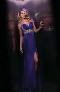 Xcite Satin Low Back Prom Dress 30346 Purple
