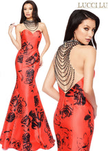 Load image into Gallery viewer, Lucci Lu Rose Print Grad Prom Dress 8108 Red/Black