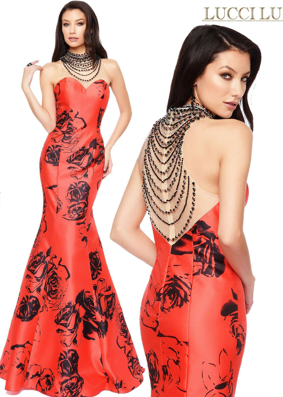 Lucci Lu Rose Print Grad Prom Dress 8108 Red/Black