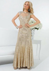 Tony Bowls Sequin Prom Dress 114539 Gold