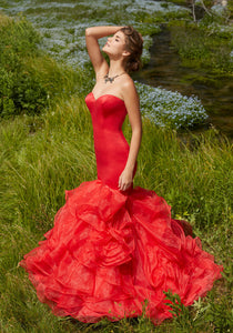 Morilee Mermaid Ruffle Prom Dress 99011 Red