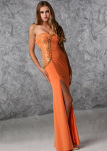 Load image into Gallery viewer, Xcite Jersey Strapless Prom Dress 32322 Orange/Gold