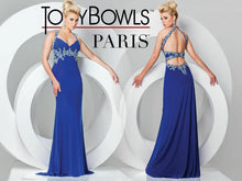 Load image into Gallery viewer, Tony Bowls Le Gala Jersey Stretch Prom Dress 115745 Navy