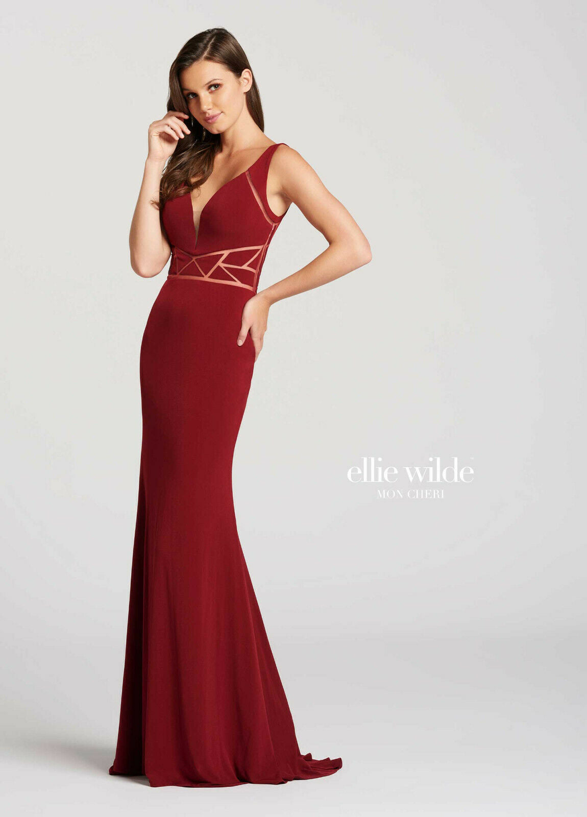 Ellie Wilde Grad Prom Dress EW118085 Wine