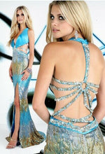 Load image into Gallery viewer, Xcite Sequin Ombre Prom Dress 32222 Turquoise/Multi