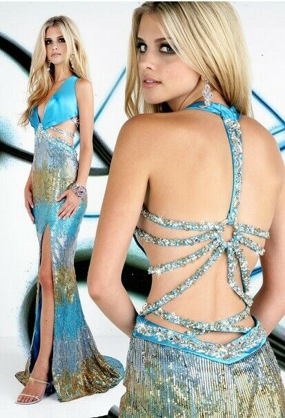 Xcite Sequin Ombre Prom Dress 32222 Turquoise/Multi