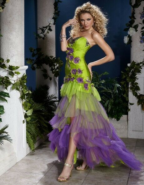 Panoply Ruffle Layered Prom Grad Dress 14400 Lime/Purple