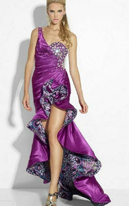 Riva Designs High Low One Shoulder Prom Dress R9635 Purple