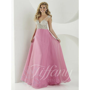 Tiffany Designs Chiffon Beaded Prom Dress 16190 Pastel Orchid/Nude