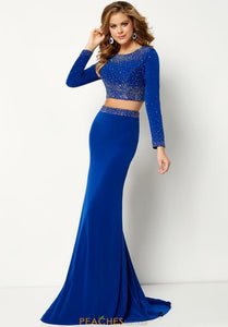 Studio 17 Long Sleeve Two Piece Prom Dress 12665 Royal