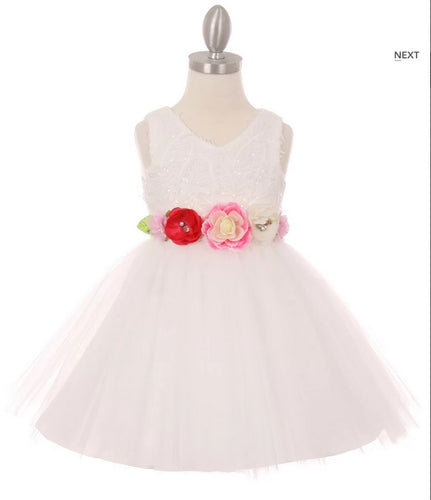 Tulle Flowergirl Dress with Floral Belt - White, Champagne