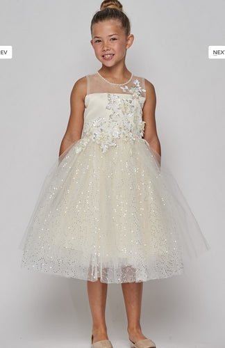 Sequin Tulle & Floral Flowergirl Dress - Ivory