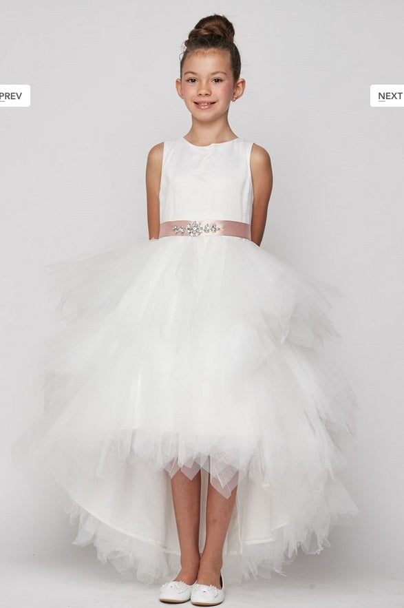 High Low Ruffle Flowergirl Dress - Ivory/Ivory