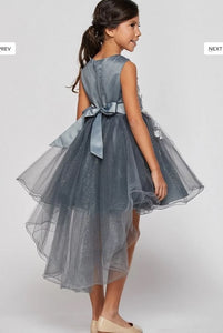 Tulle High Low Flowergirl Dress with Flowers - Taupe