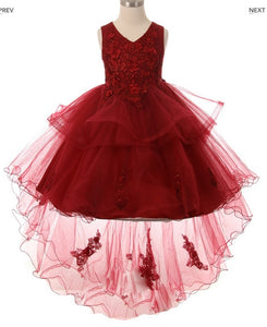Layered High Low Flowergirl Dress - White, Champagne and Burgundy