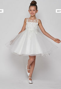 Tulle Flowergirl Lace with Lace Bodice - White
