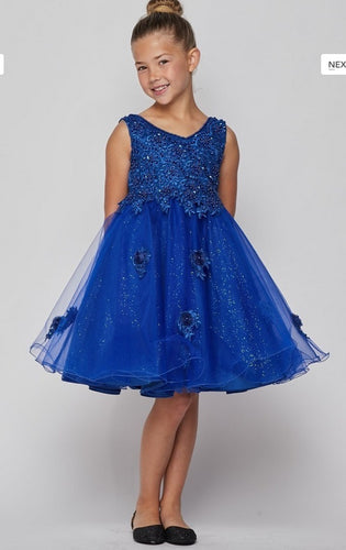 Glitter Tulle Flowergirl Dress - Royal Blue