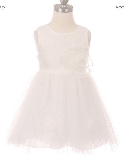 Floral Tulle Flowergirl Dress - White