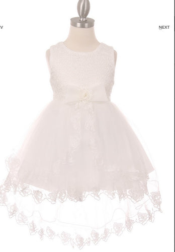 Lace High Low Flowergirl Dress with Bow - White