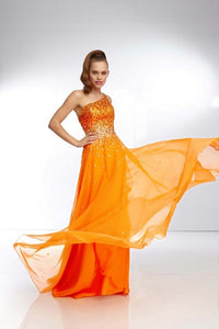 Morilee Neon Orange Chiffon One Shoulder Gown 95023