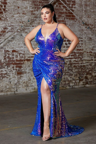 Color Changing Sequin Plus Size Gown 35452