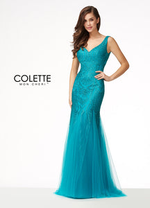 Colette Lace Fit & Flare Gown CL17164 Jade